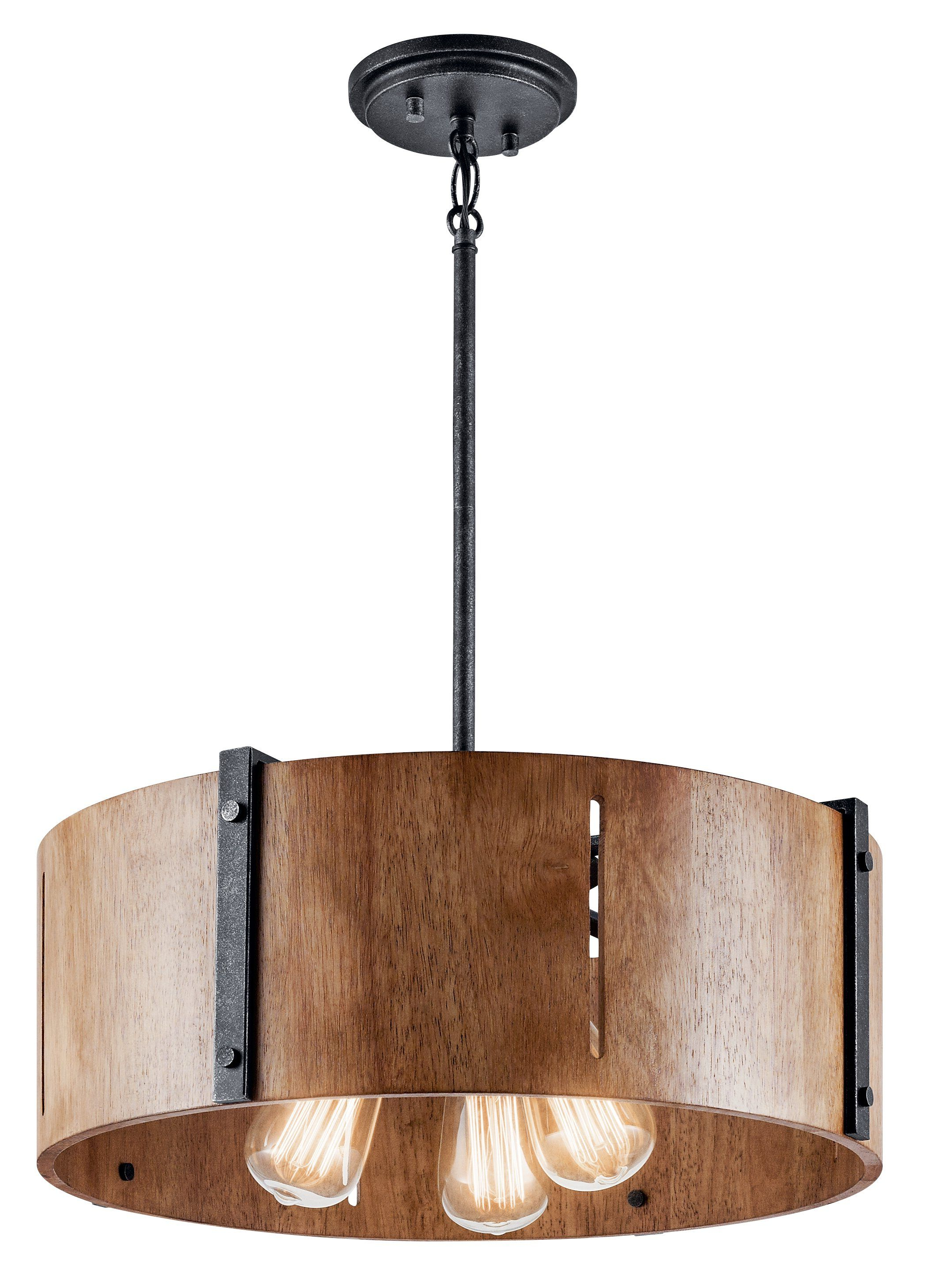 Popular Montes 3 Light Drum Chandeliers Regarding Elbur Pendant/semi Flush 3 Light – Distressed Black In 2019 (Gallery 19 of 20)