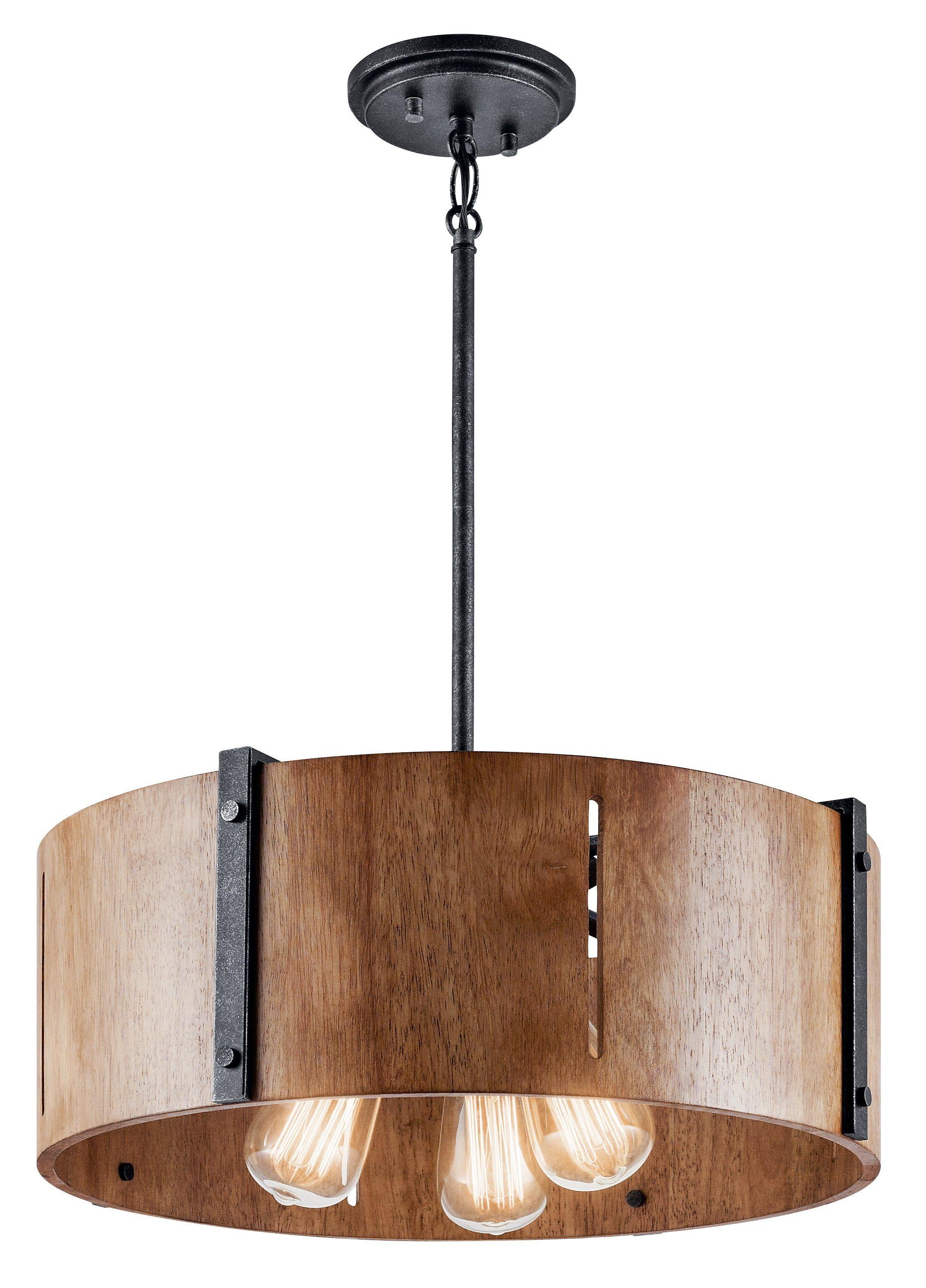 Popular Montes 3 Light Drum Chandeliers Regarding Elbur Pendant/semi Flush 3 Light – Distressed Black In 2019 (Gallery 19 of 20)