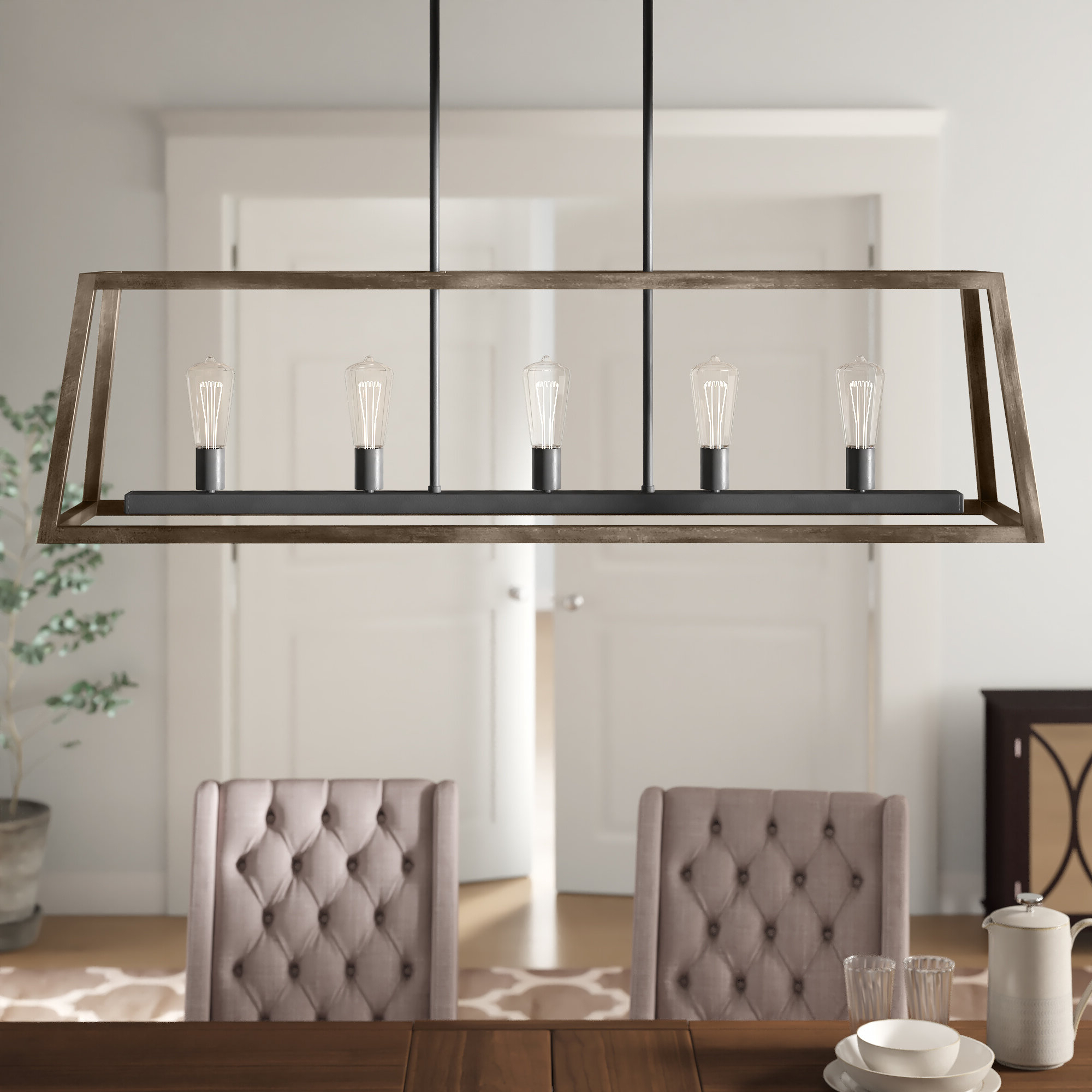 Popular Natarsha 5 Light Kitchen Island Linear Pendant Within Novogratz Vintage 5 Light Kitchen Island Bulb Pendants (Gallery 7 of 20)