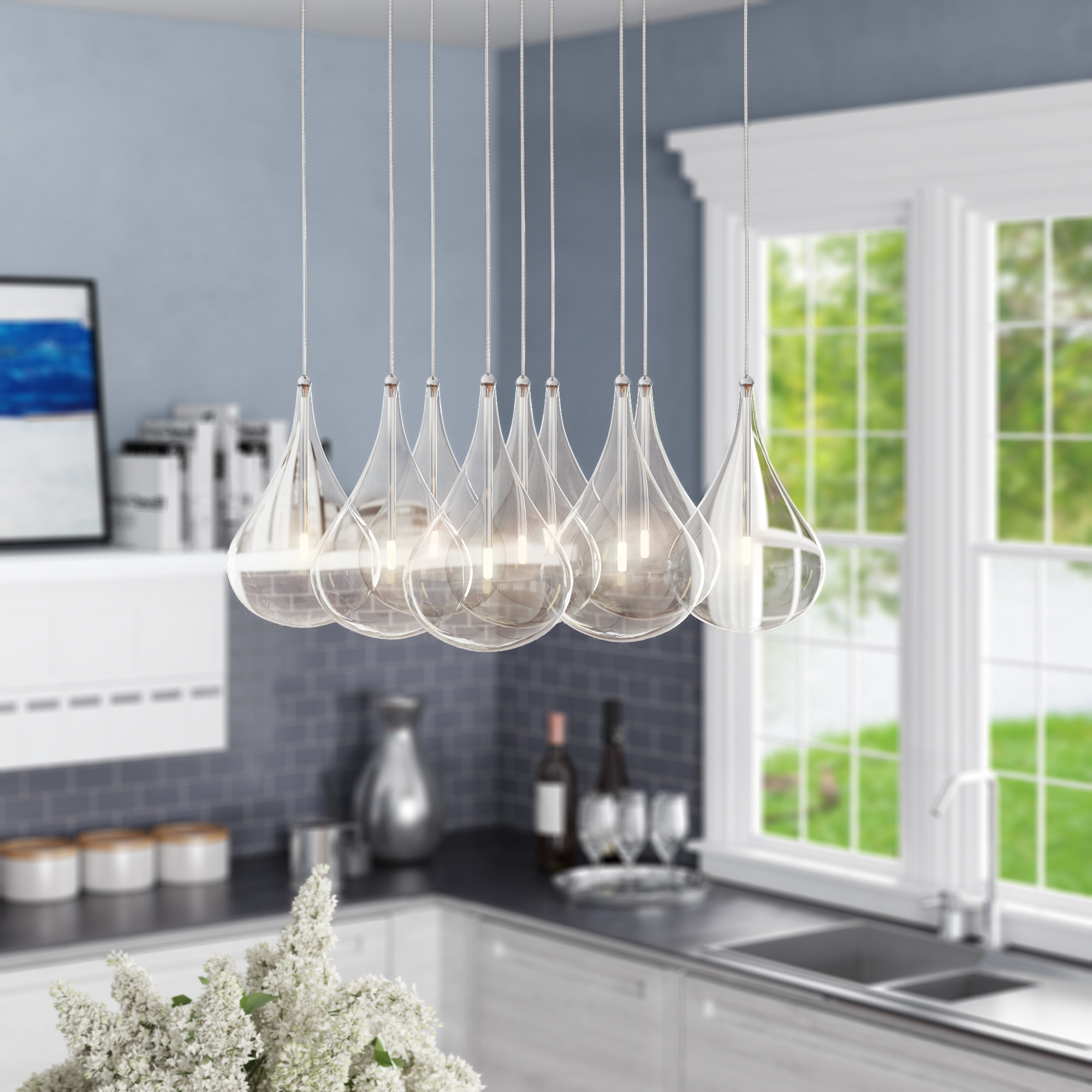 Popular Neal 9 Light Kitchen Island Teardrop Pendants In Neal 9 Light Kitchen Island Pendant (View 15 of 20)