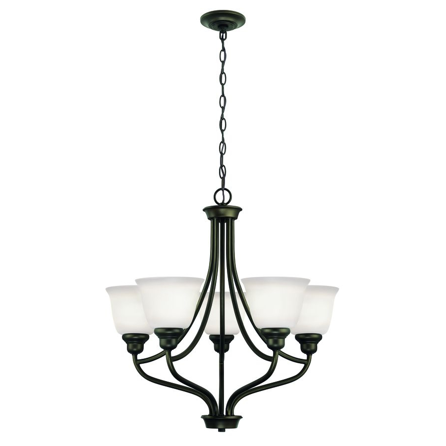Popular Project Source Bellrose 25 In 5 Light Oil Rubbed Bronze Intended For Crofoot 5 Light Shaded Chandeliers (View 15 of 20)