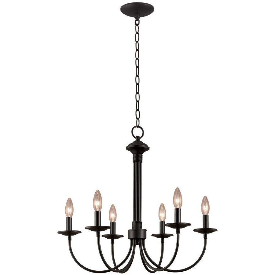 Portfolio 6 Light New Century Black Chandelier – Lowe's With Regard To Well Known Perseus 6 Light Candle Style Chandeliers (Gallery 19 of 20)