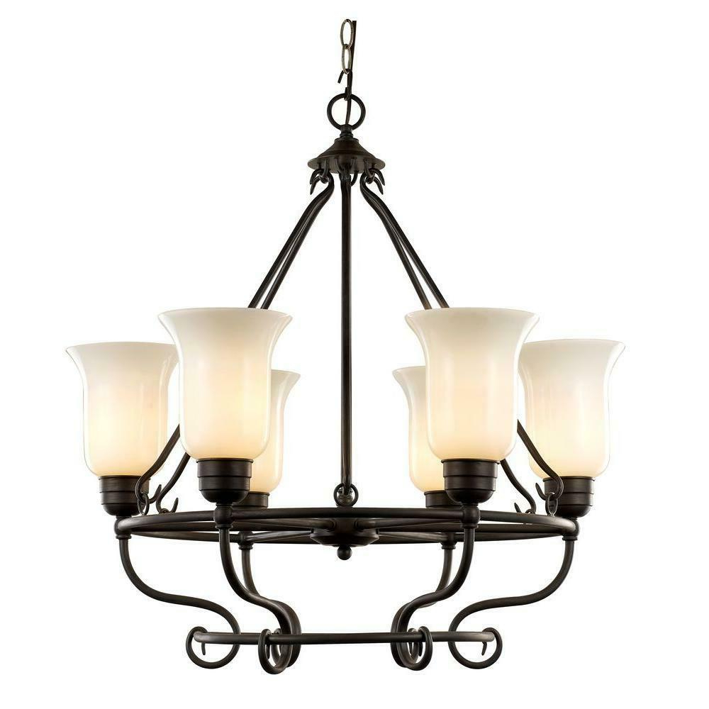 Preferred 6 Light Dark Bronze Chandelier With Seeded Glass With Regard To Newent 5 Light Shaded Chandeliers (View 14 of 20)