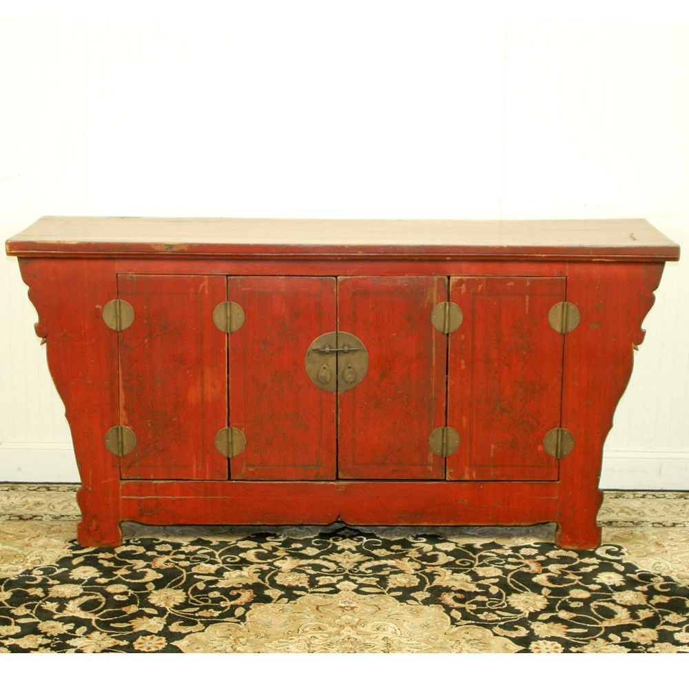 """Preferred Antique Chinese Asian 69"""" Long Red Sideboard Buffet Cabinet Inside Seven Seas Asian Sideboards (View 9 of 20)"""
