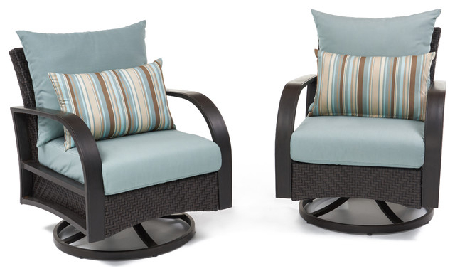 Preferred Avadi Outdoor Sofas & Ottomans 3 Piece Set Within Barcelo Motion Outdoor Rotating Club Chairs, Set Of 2Rst Brands, Bliss Blue (Gallery 19 of 20)