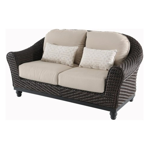 Preferred Baltic Loveseats With Cushions Within Brown Wicker Outdoor Loveseat With Antique Beige Cushions (View 19 of 20)