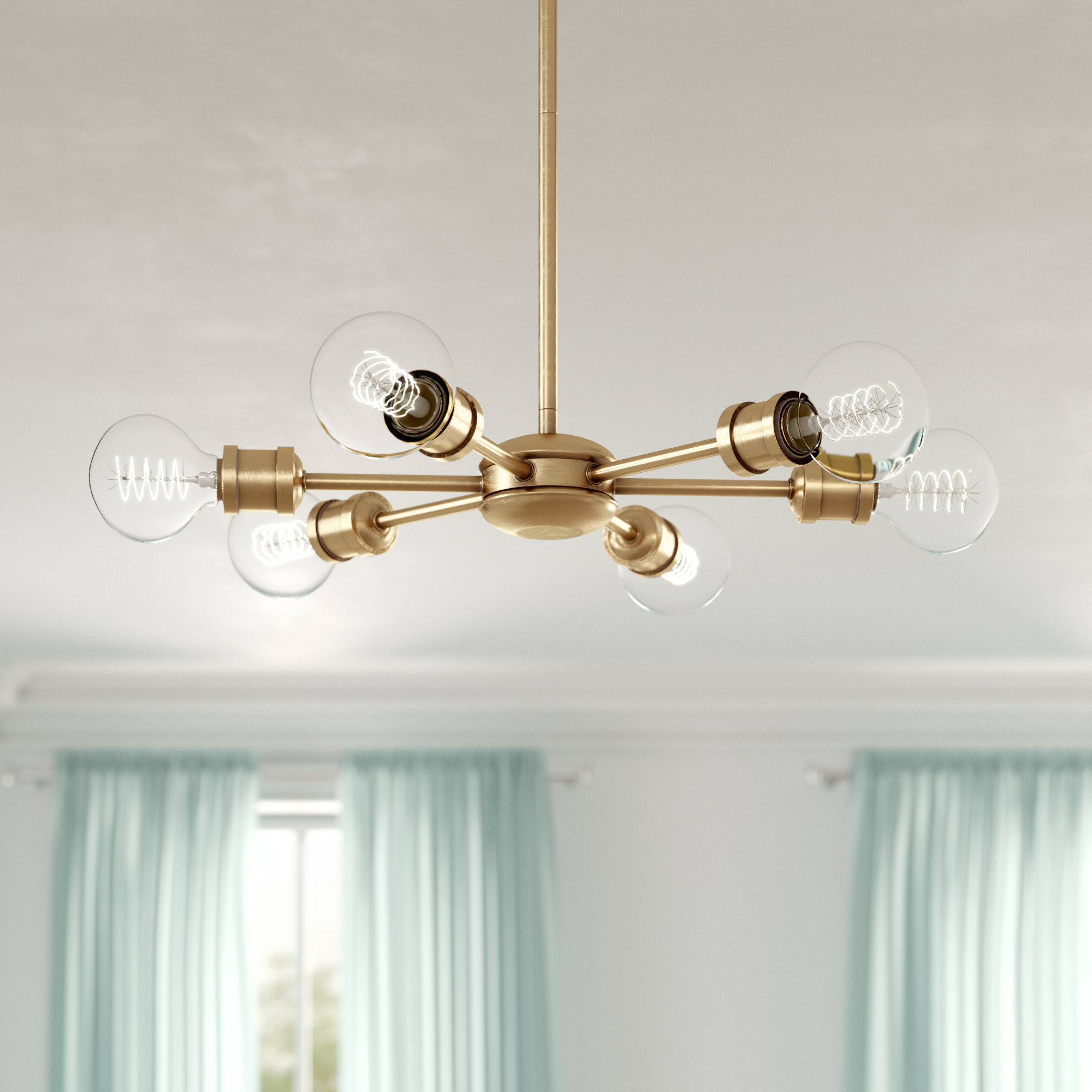 Preferred Bautista 6 Light Kitchen Island Bulb Pendants In Bautista 6 Light Sputnik Chandelier (Gallery 2 of 20)