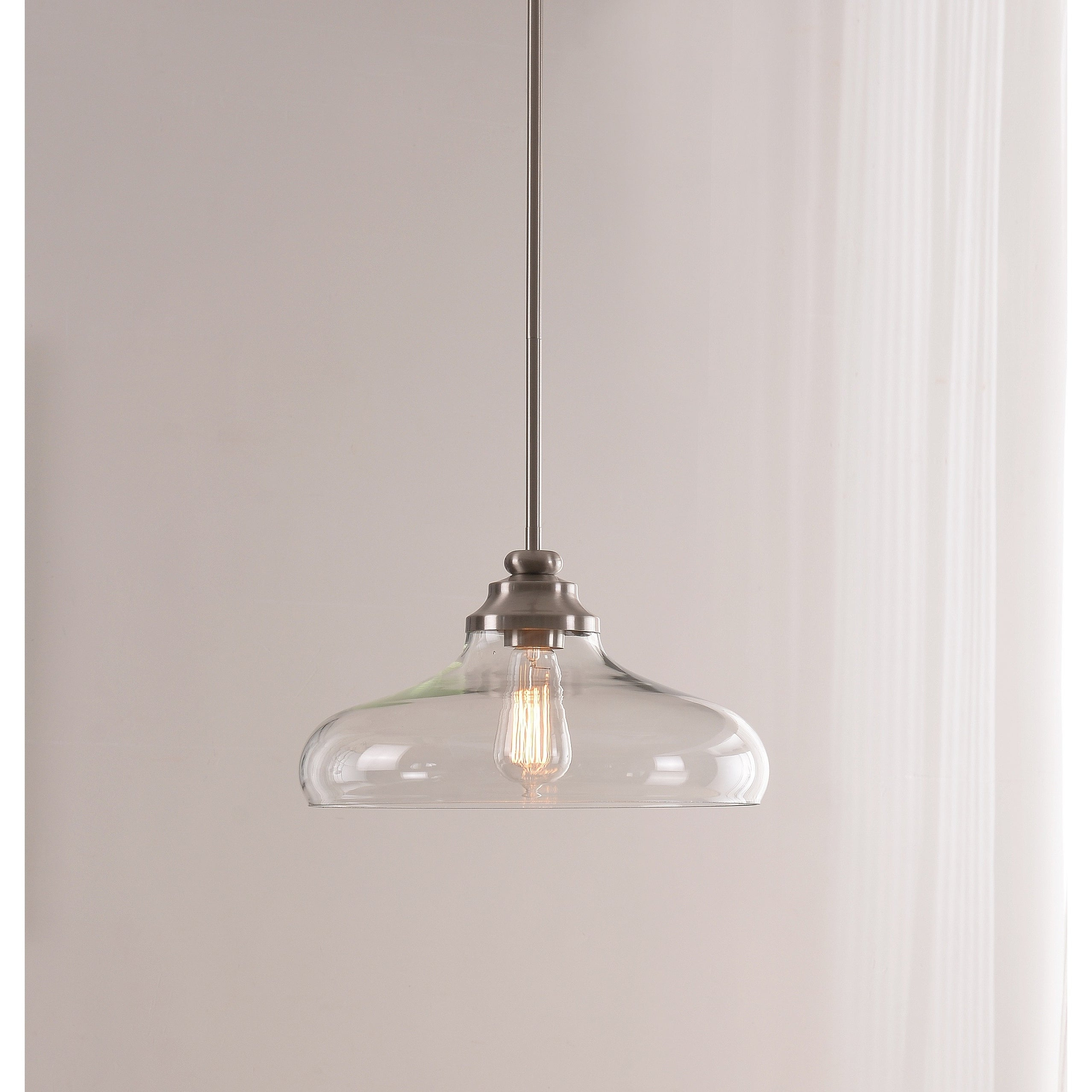 Preferred Caden 1 Light Pendant – Brushed Steel With Clear Glass Intended For Cayden 1 Light Single Globe Pendants (View 16 of 20)