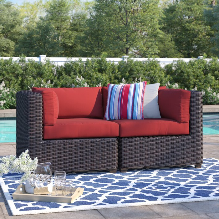 Preferred Fairfield Patio Loveseat With Cushions Throughout Camak Patio Loveseats With Cushions (View 13 of 20)