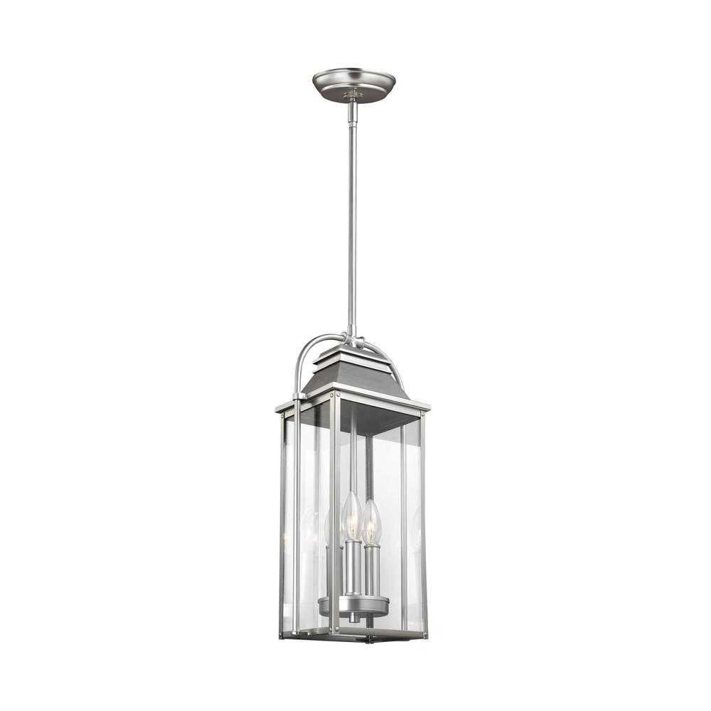 Preferred Feiss Wellsworth 3 Light Painted Brushed Steel Outdoor In 3 Light Lantern Cylinder Pendants (View 18 of 20)