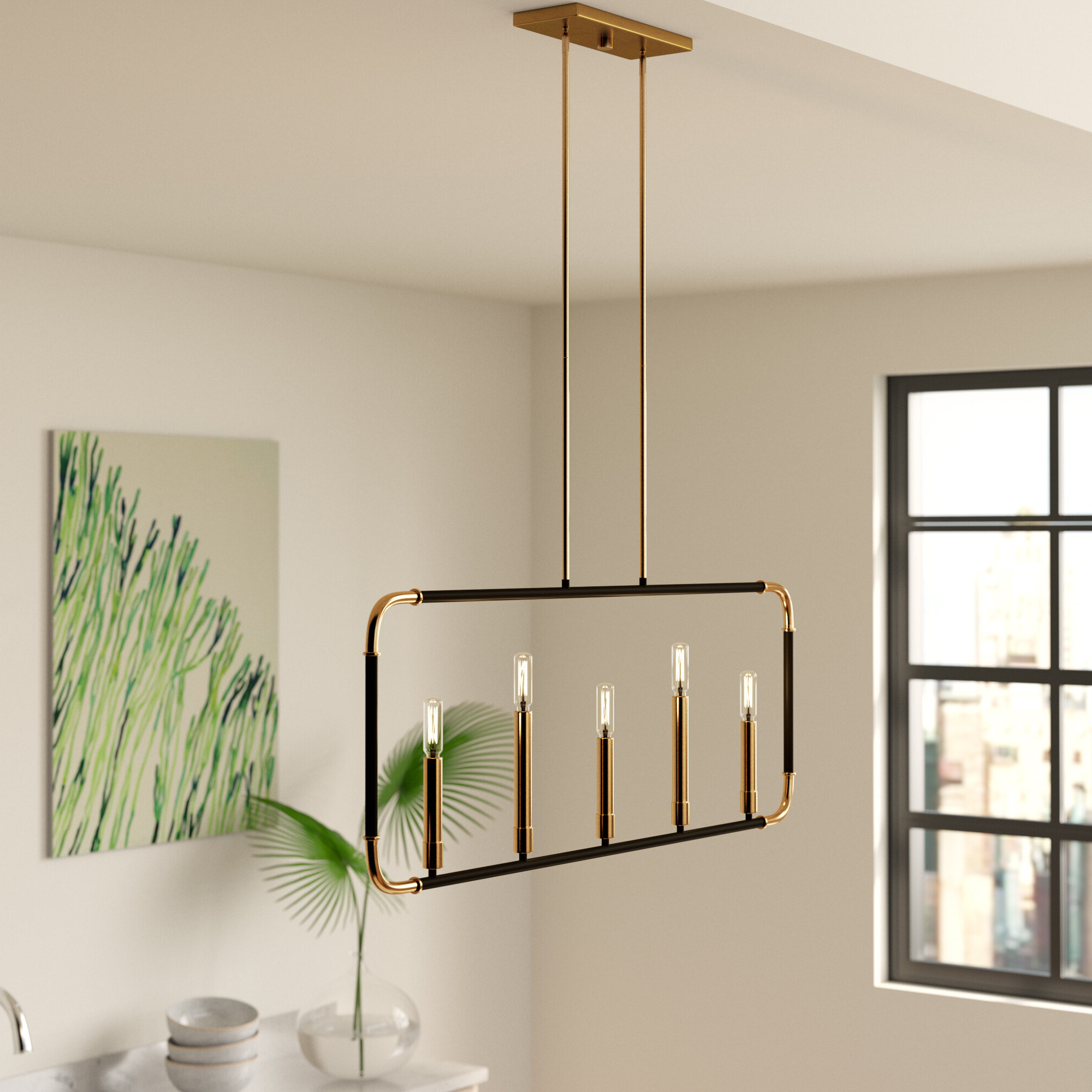 Preferred Freemont 5 Light Kitchen Island Linear Chandeliers Pertaining To Jairo 5 Light Kitchen Island Pendant (Gallery 10 of 20)