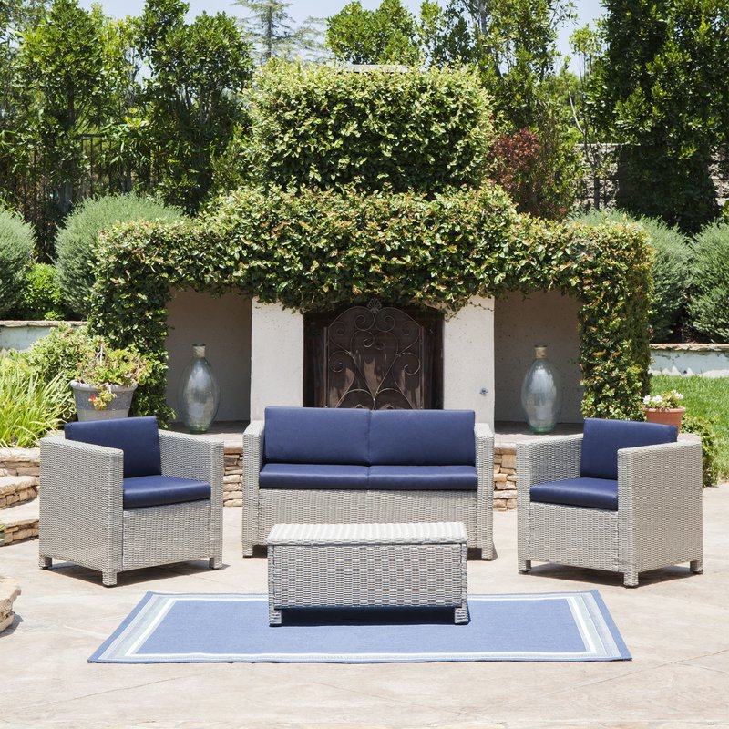 Preferred Furst 4 Piece Sofa Set With Cushions For Furst Patio Sofas With Cushion (View 14 of 20)