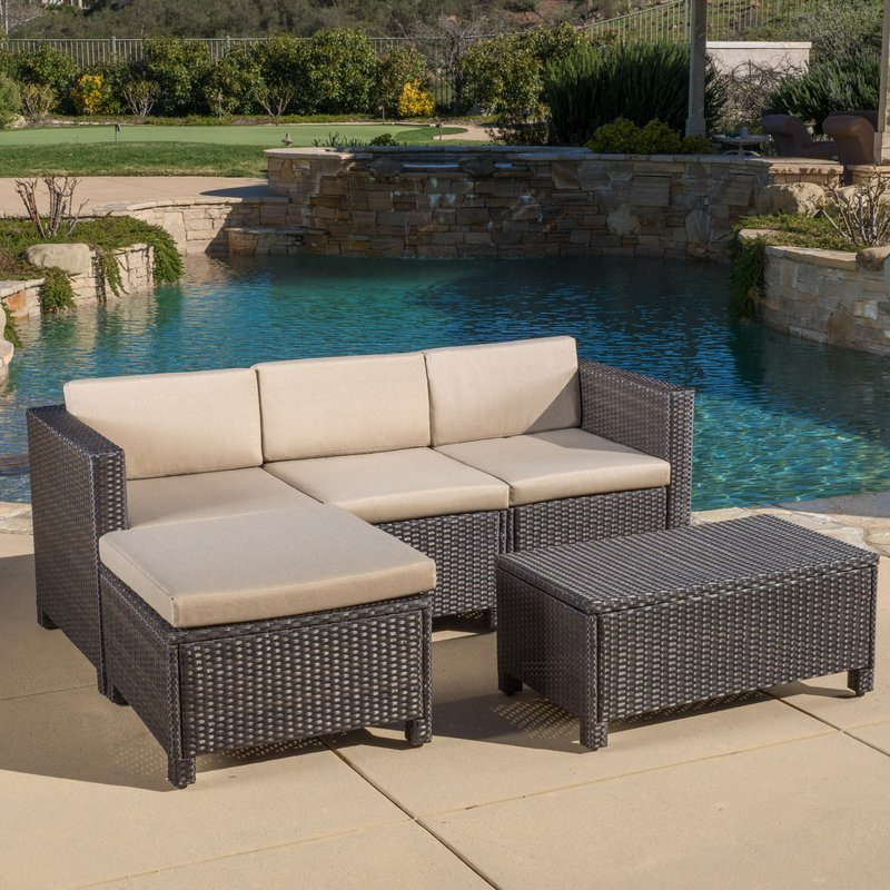 Preferred Furst 5 Piece Sectional Seating Group With Cushions Regarding Furst Patio Sofas With Cushion (View 13 of 20)