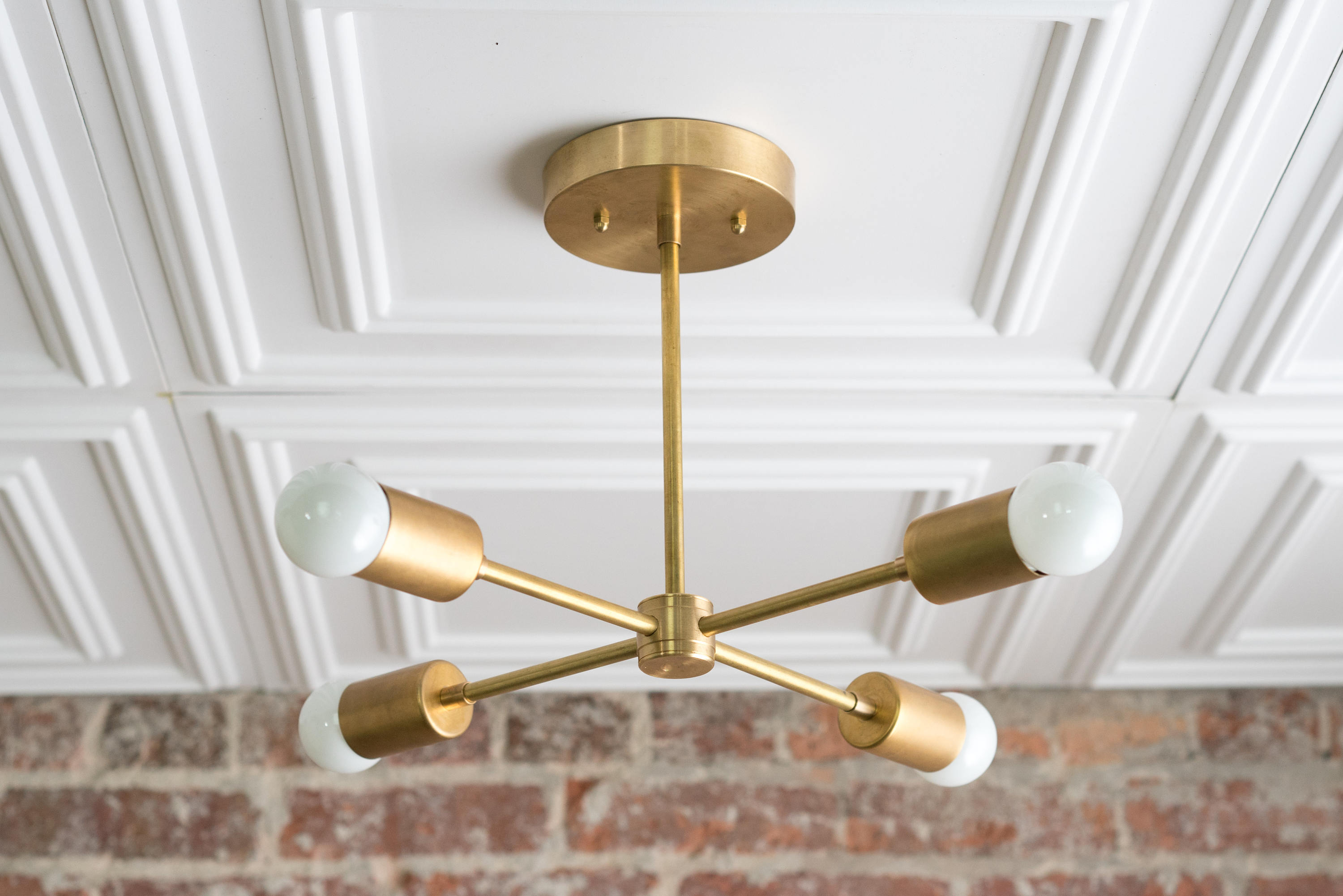 Preferred Gold Sputnik Light – Geometric Chandelier – Semi Flush – Modern Chandelier – Brass Fixture With Regard To Lynn 6 Light Geometric Chandeliers (Gallery 19 of 20)