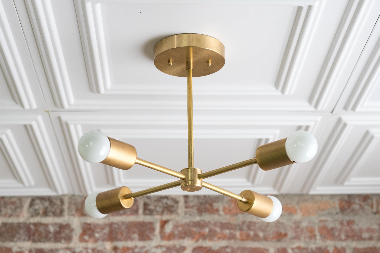 Preferred Gold Sputnik Light – Geometric Chandelier – Semi Flush – Modern Chandelier  – Brass Fixture With Regard To Lynn 6 Light Geometric Chandeliers (View 18 of 20)
