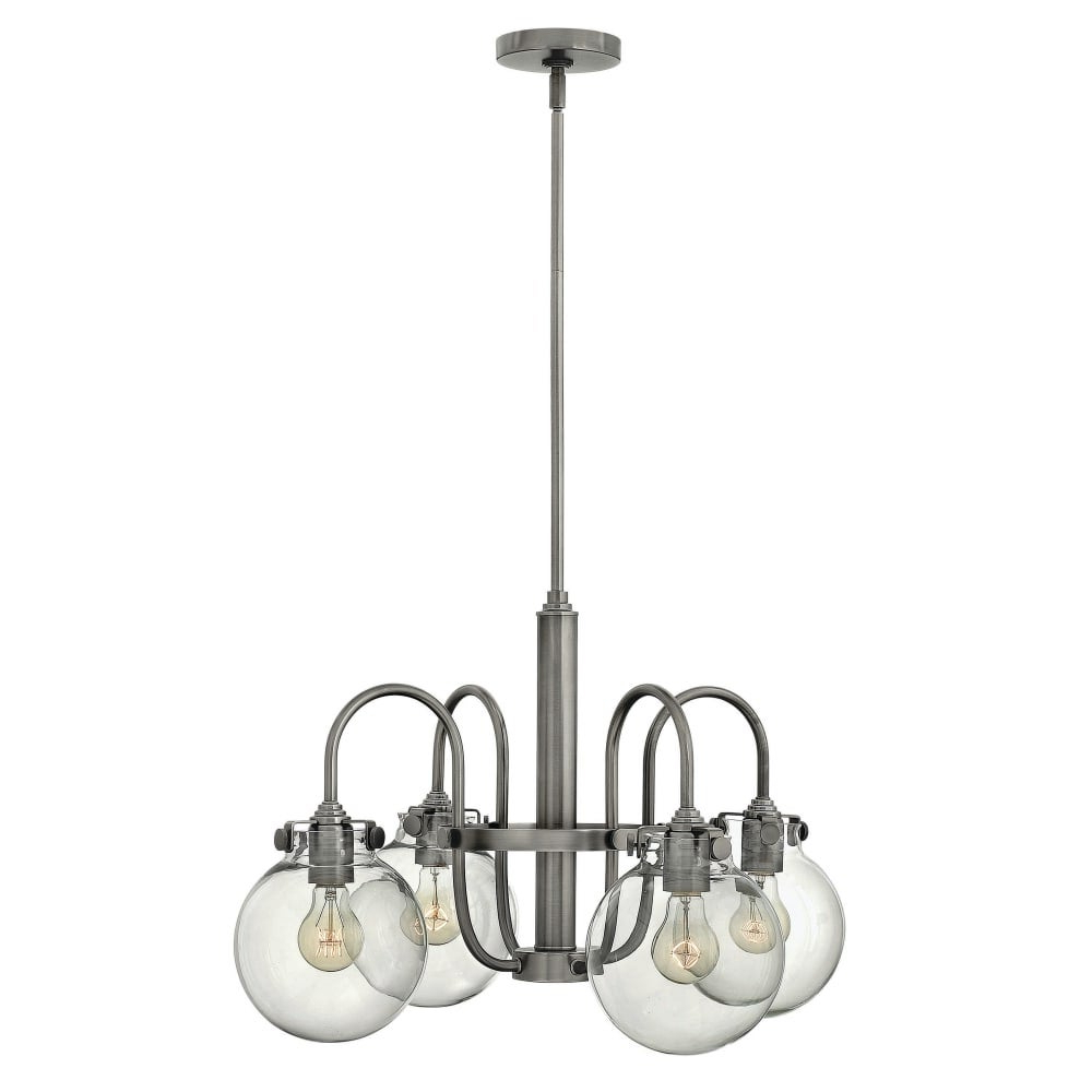 Preferred Hinkley Lighting 3044 Congress 4 Light 1 Tier Chandelier With Clear Globe  Shade – N/a With Hewitt 4 Light Square Chandeliers (View 11 of 20)
