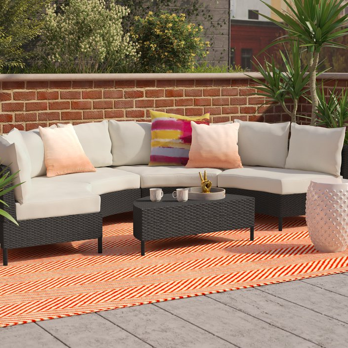 Preferred Kunz Loveseats With Cushions Intended For Dowd 5 Piece Rattan Sectional Seating Group With Cushions (View 14 of 20)