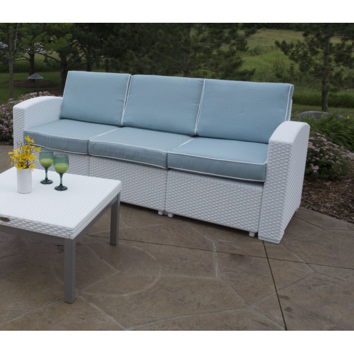 Preferred Loggins Patio Sofa With Cushions With Stapleton Wicker Resin Patio Sofas With Cushions (Gallery 14 of 20)