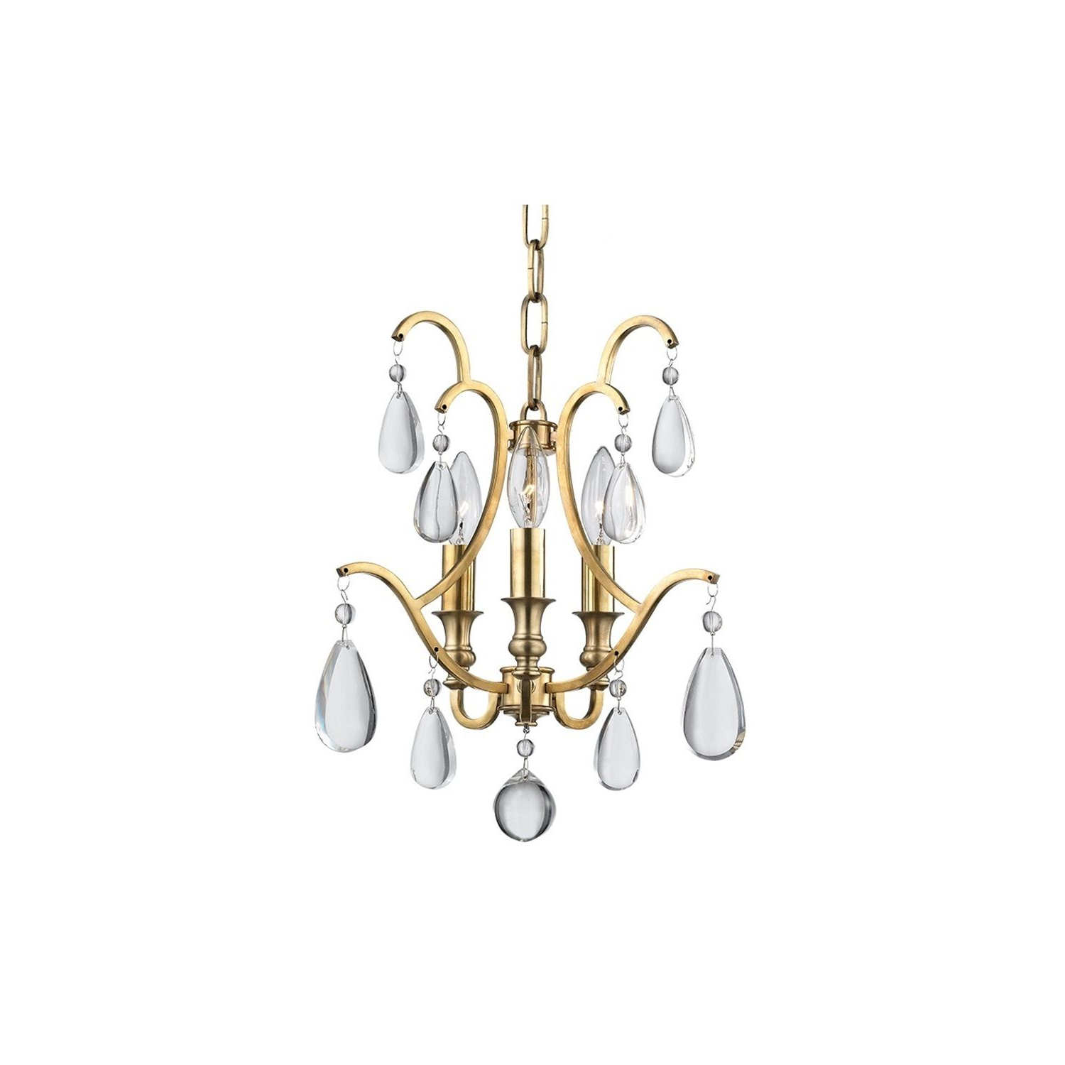 Preferred Millbrook 5 Light Shaded Chandeliers Within Hudson Valley Crawford 3 Light Aged Brass Semi Flush/pendant (View 16 of 20)