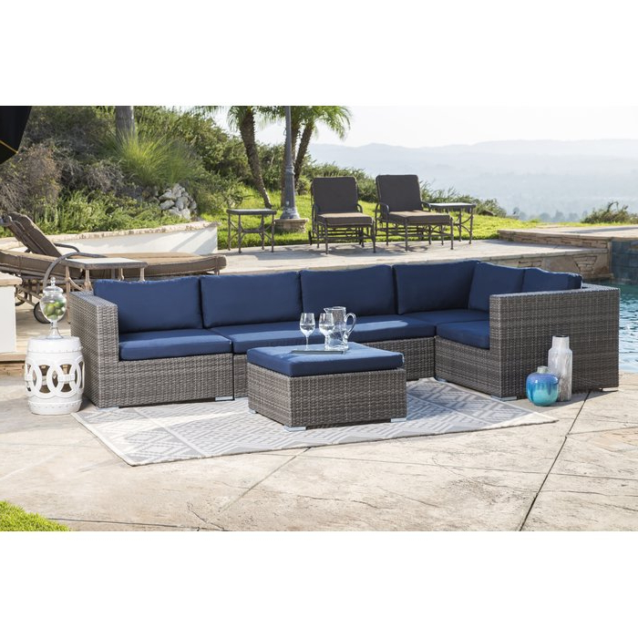 Preferred Ostrowski Outdoor Wicker Patio Sectional With Cushions Within Jamarion 4 Piece Sectionals With Sunbrella Cushions (View 20 of 20)