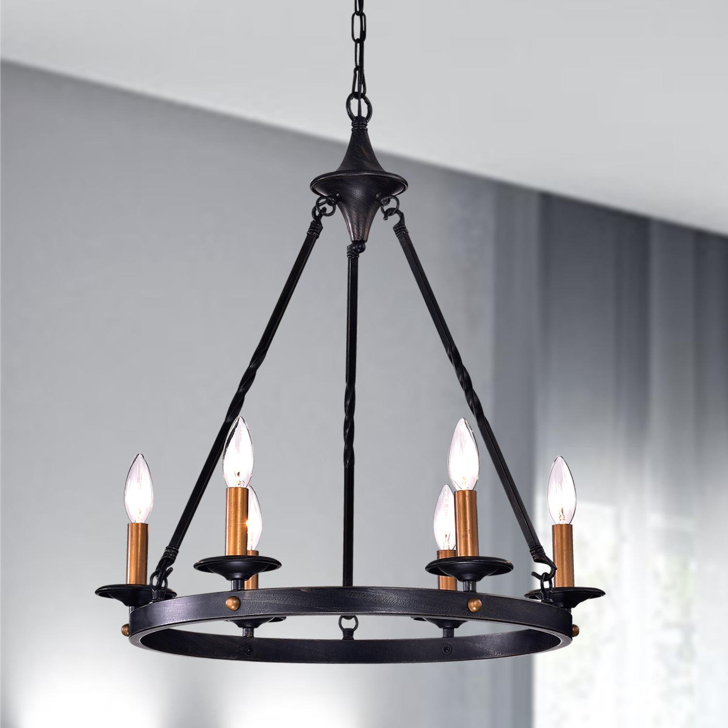 Preferred Rockland 4 Light Geometric Pendants Within Brian 6 Light Wagon Wheel Chandelier (Gallery 12 of 20)