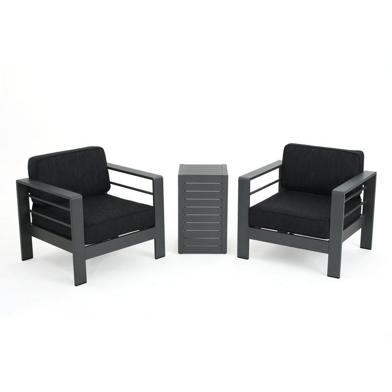 Preferred Royalston Patio Sofas With Cushions Regarding Royalston 3 Piece Conversation Set With Cushions (View 10 of 20)