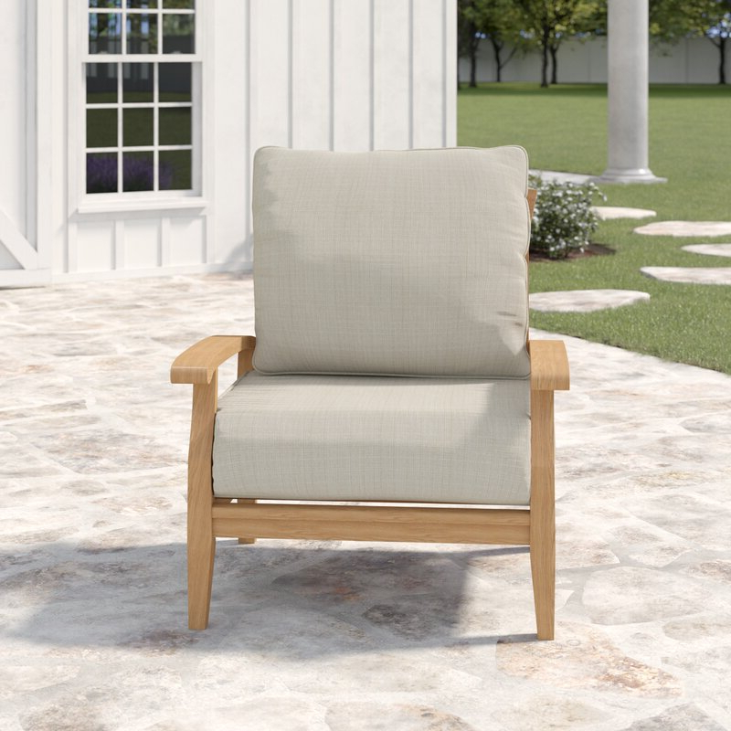 Preferred Summerton Teak Patio Chair With Cushions With Regard To Summerton Teak Patio Sofas With Cushions (View 10 of 20)