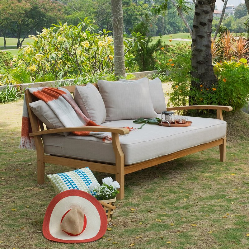 Preferred Summerton Teak Patio Sofas With Cushions Pertaining To Summerton Teak Patio Daybed With Cushion (View 11 of 20)
