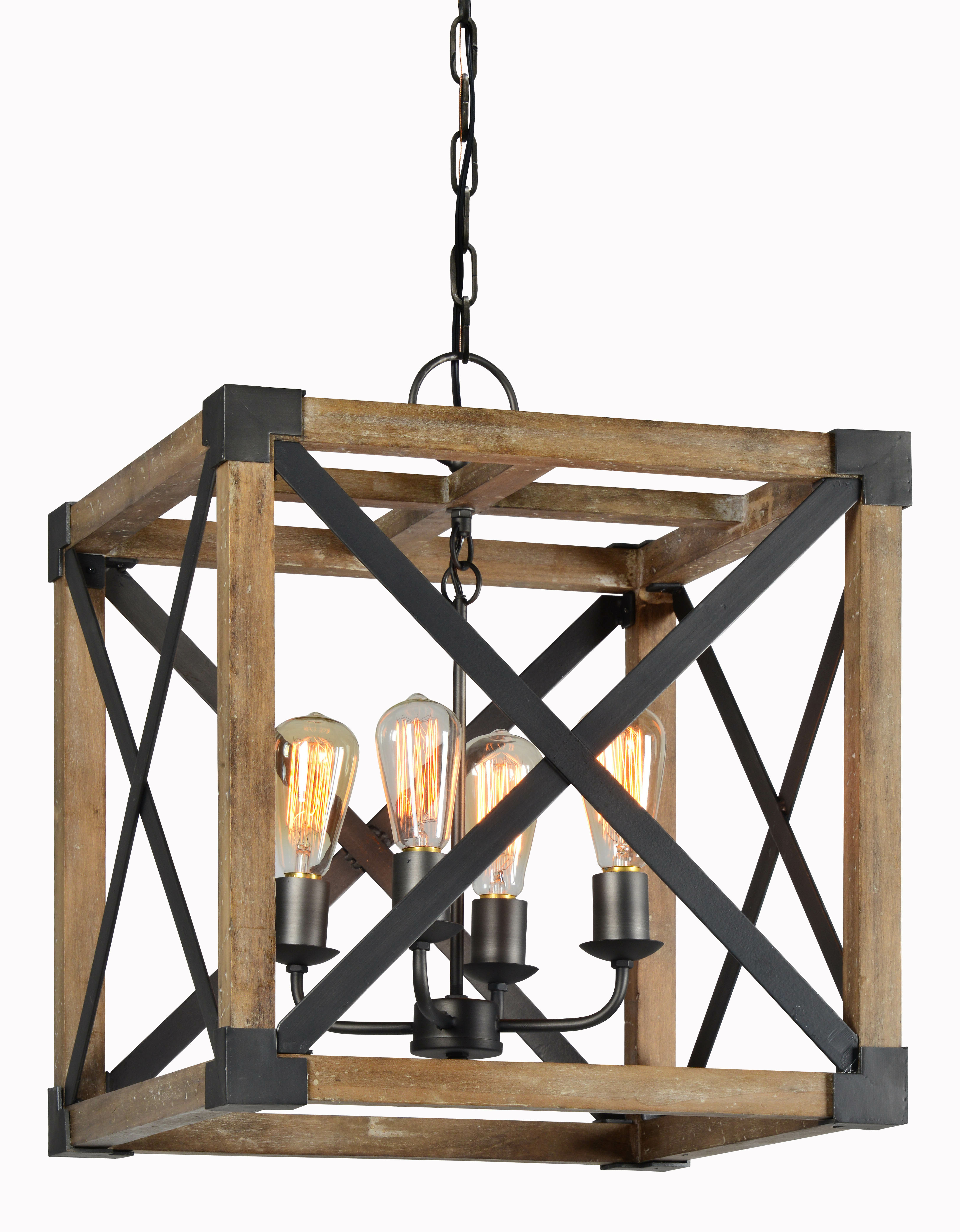 Preferred Surrett 4 Light Lantern Pendant With Regard To William 4 Light Lantern Square / Rectangle Pendants (View 7 of 20)