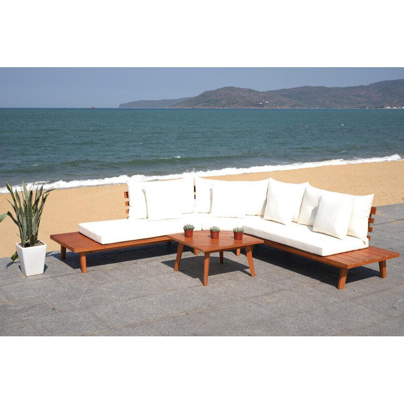 Preferred Tess Corner Living Patio Sectional With Cushions Intended For Greta Living Patio Sectionals With Cushions (View 16 of 20)