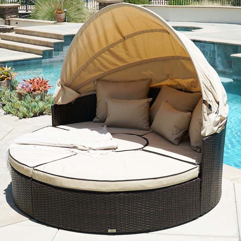 Preferred Tiana Patio Daybeds With Cushions Within Weiner 5 Piece Outdoor Daybed Set With Cushions (Gallery 6 of 20)