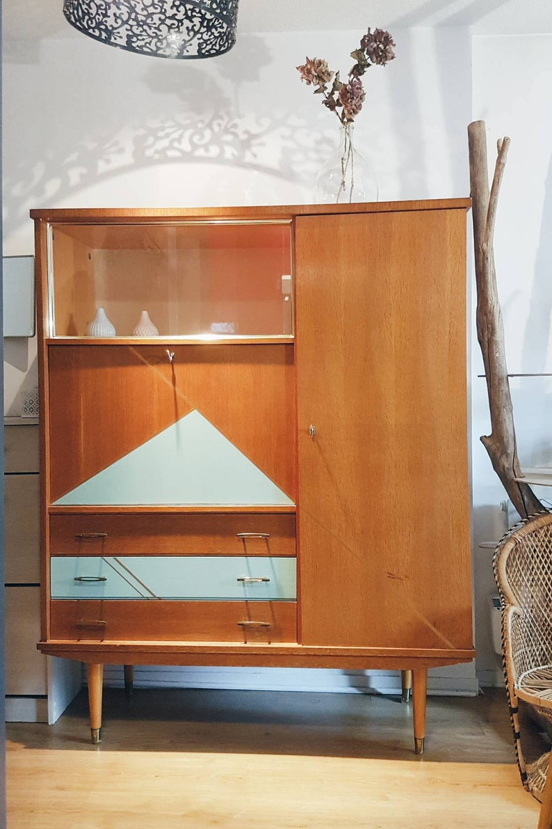Preferred Vintage Cabinet Secretary 50S Showcase Scandinavian Furniture Revamped Gift  Idea Library Wardrobe Cabinet Vintage Old Desk Within Saint Gratien Sideboards (View 8 of 20)
