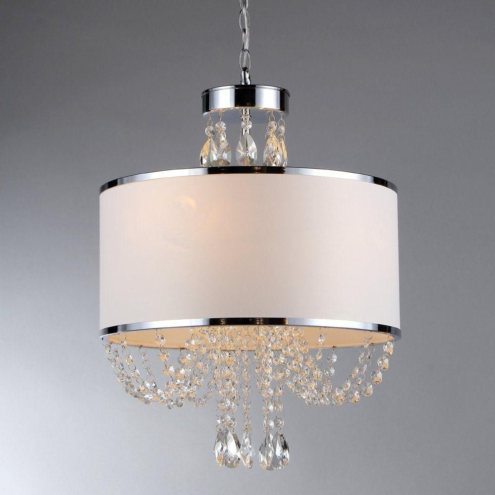 Preferred Warehouse Of Tiffany Hera 4 Light Chrome Chandelier With With Lindsey 4 Light Drum Chandeliers (Gallery 7 of 20)