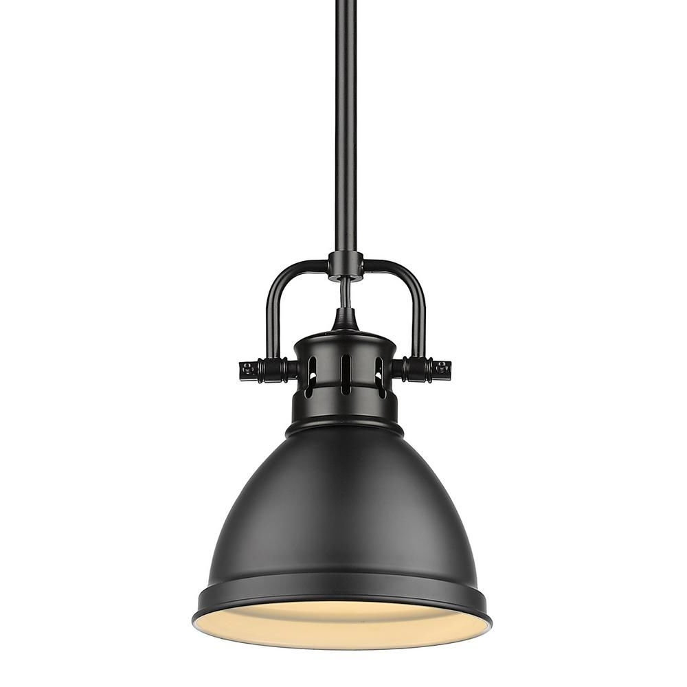 Priston 1 Light Single Dome Pendants Intended For Best And Newest Golden Lighting Duncan 1 Light Black Mini Pendant And Rod (View 14 of 20)