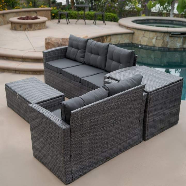Featured Photo of Rowley Patio Sofas Set With Cushions