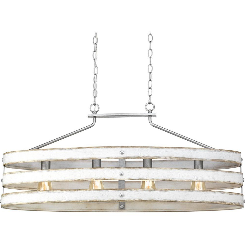Progress Lighting Gulliver 4 Light Galvanized Island Chandelier With  Weathered White Wood Accents Within 2020 Dailey 4 Light Drum Chandeliers (Gallery 14 of 20)