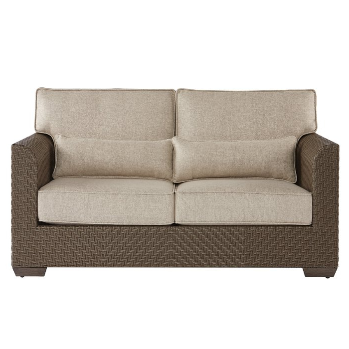 Provencher Patio Loveseats With Cushions In Most Up To Date Astrid Wicker Patio Loveseat With Cushions (Gallery 18 of 20)