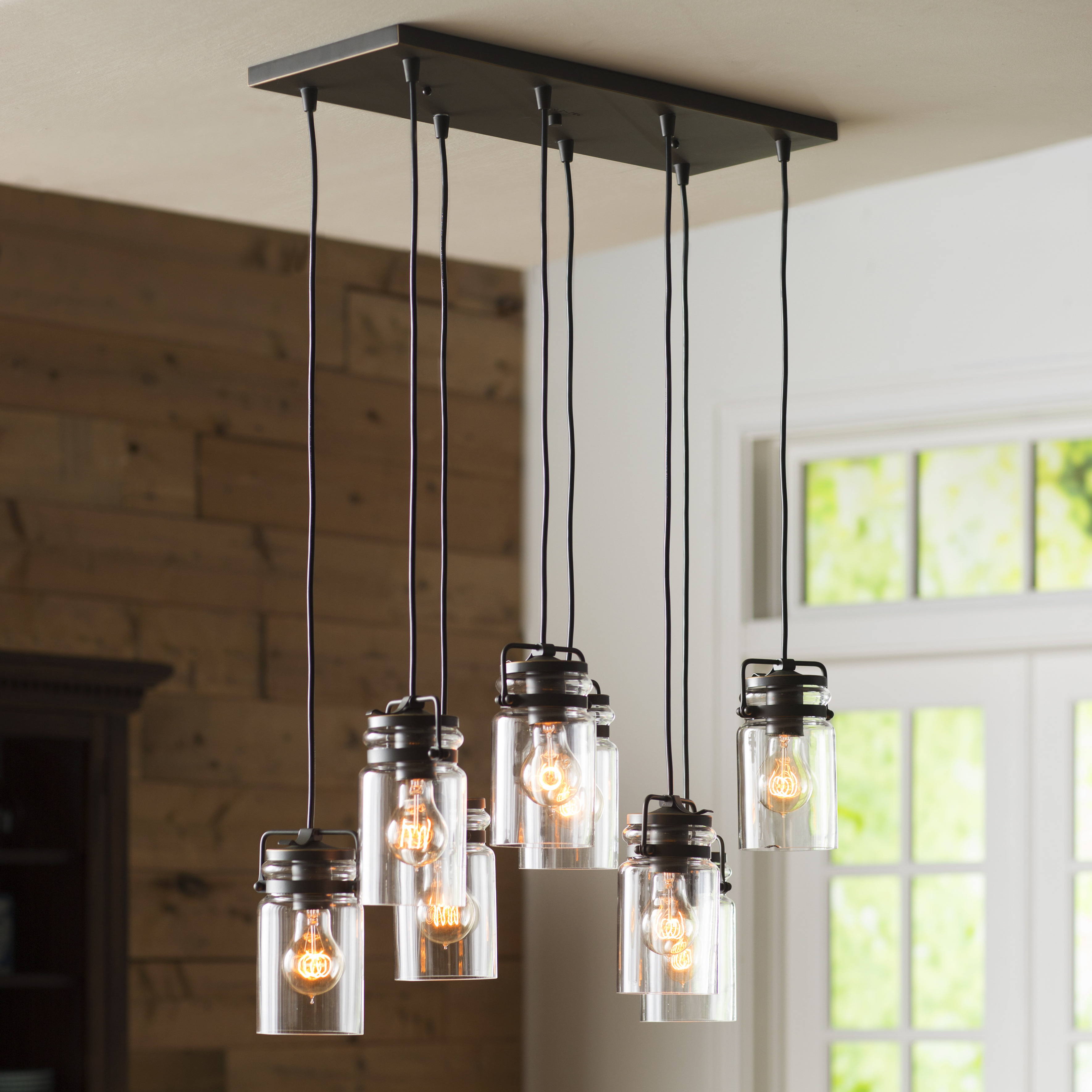 Pruett Cognac Glass 8 Light Cluster Pendants For Most Current Sue 8 Light Cluster Cylinder Pendant (View 12 of 20)