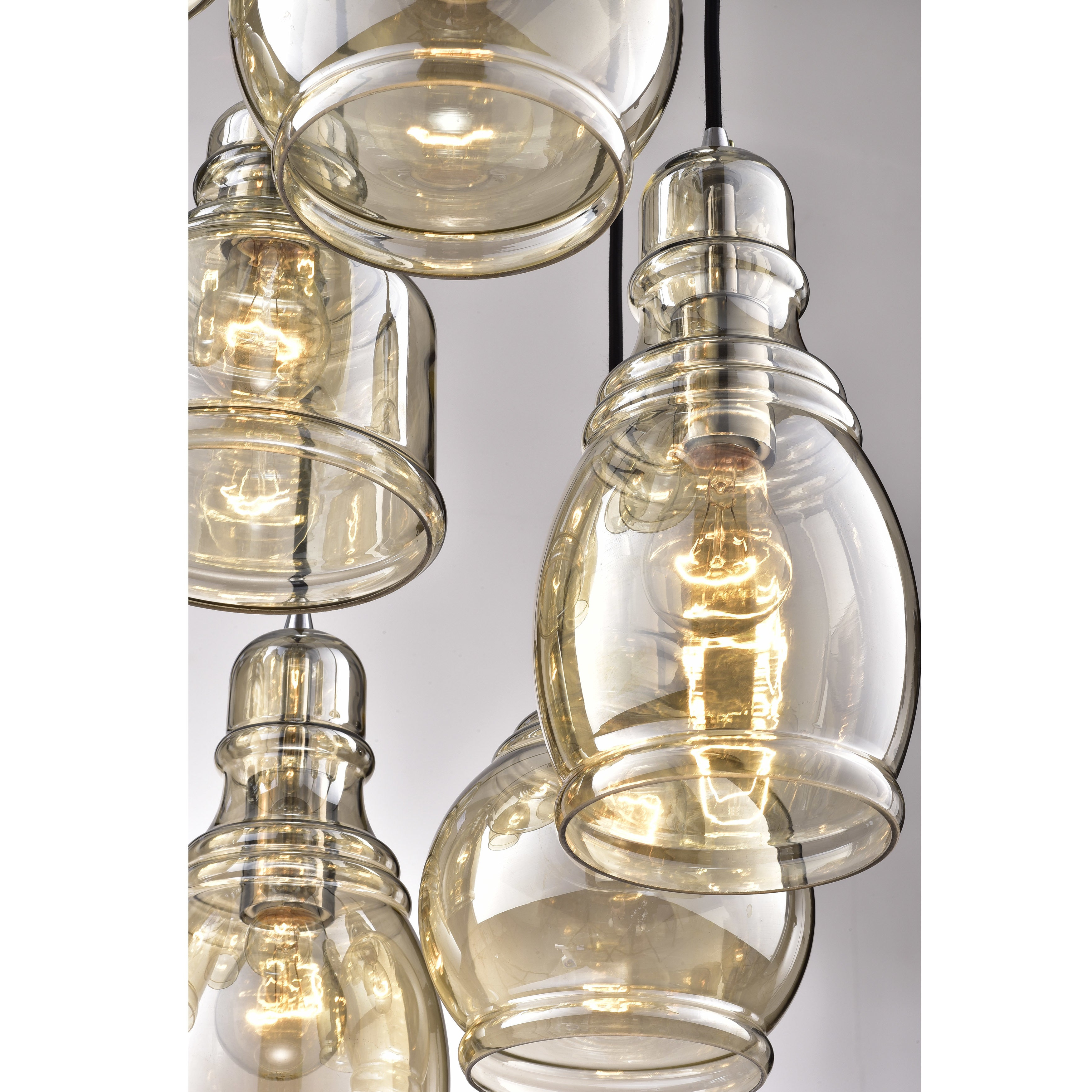 Pruett Cognac Glass 8 Light Cluster Pendants In Recent Mariana 8 Light Cognac Glass Cluster Pendant Chandelier With Chrome Finish  And Round Base (Gallery 20 of 20)