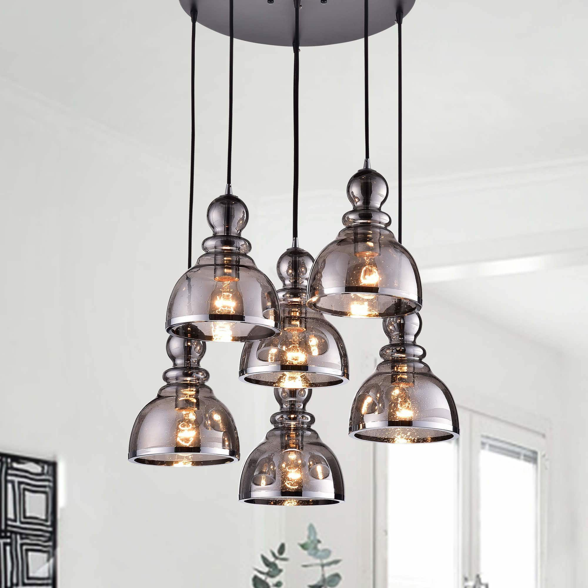Pruett Cognac Glass 8 Light Cluster Pendants Intended For Most Current Alita Antique Black 6 Light Smoked Bubble Glass Chrome (Grey (View 14 of 20)