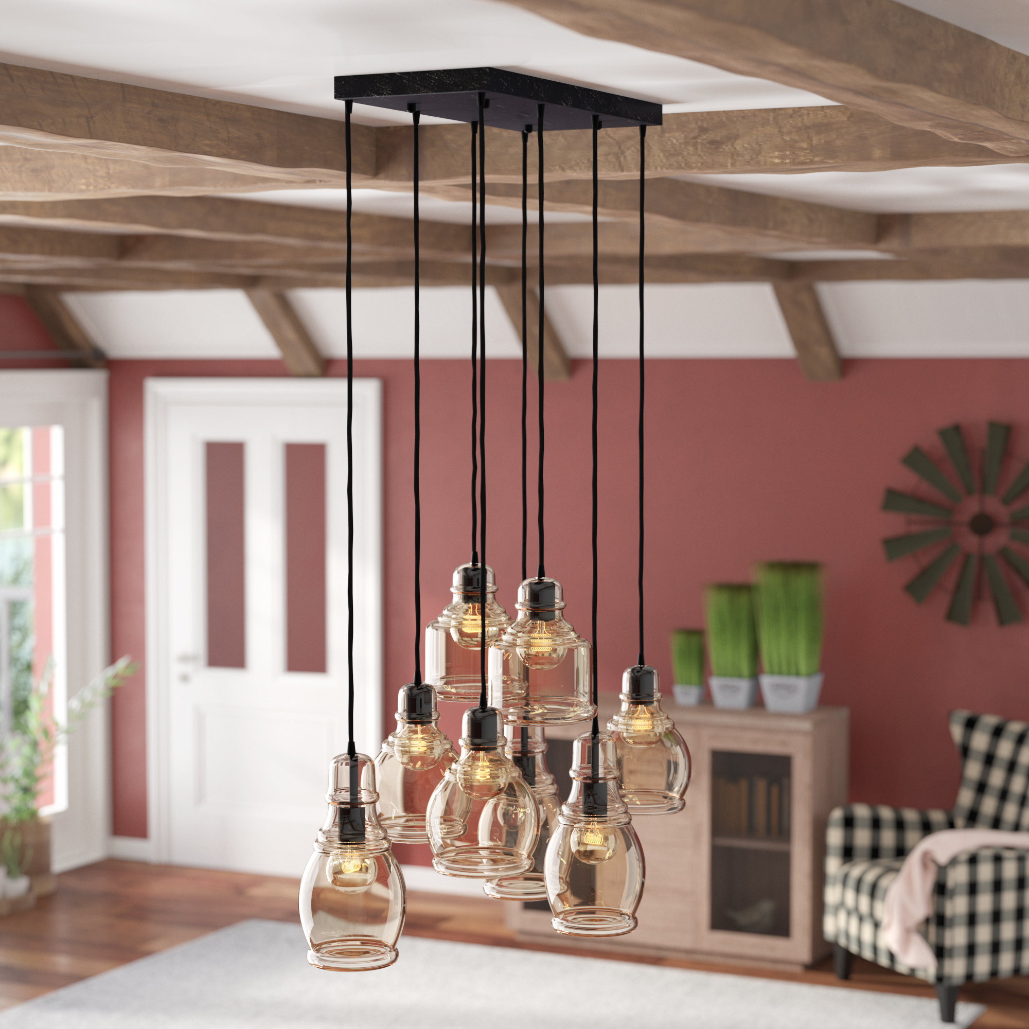 Featured Photo of Pruett Cognac Glass 8 Light Cluster Pendants
