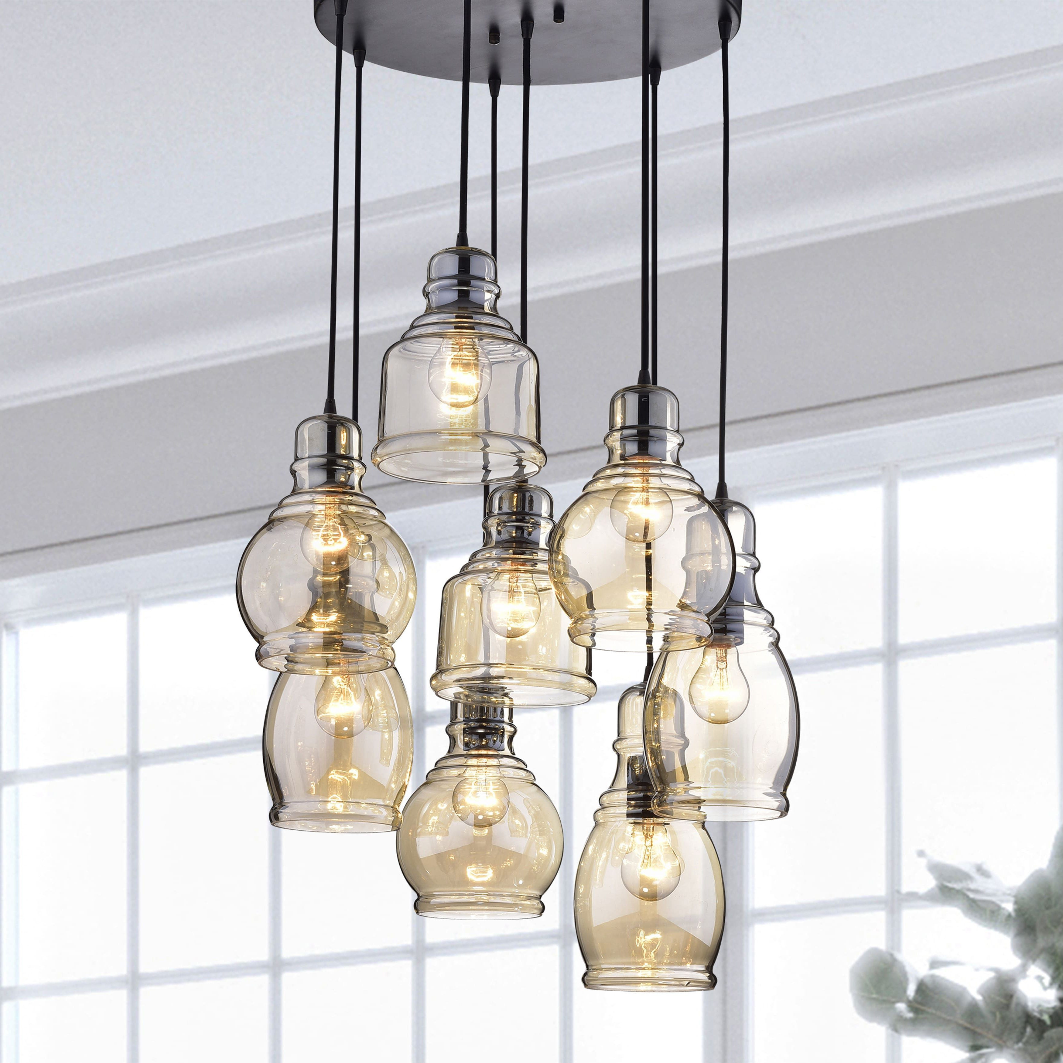 Pruett Cognac Glass 8 Light Cluster Pendants With Regard To Famous Mariana Cognac Glass Cluster Pendant In Antique Black Finish (View 16 of 20)