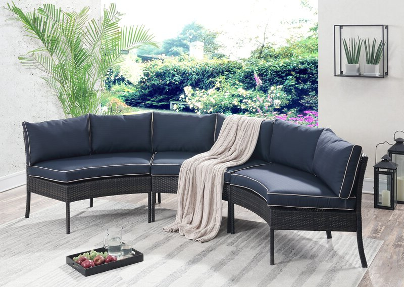 Purington Circular Patio Sectional With Cushions In 2019 Hursey Patio Sectionals (View 13 of 20)