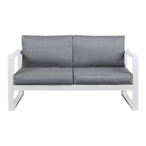 Real Flame Baltic Aluminum Patio Loveseat In White For Famous Baltic Loveseats With Cushions (View 17 of 20)