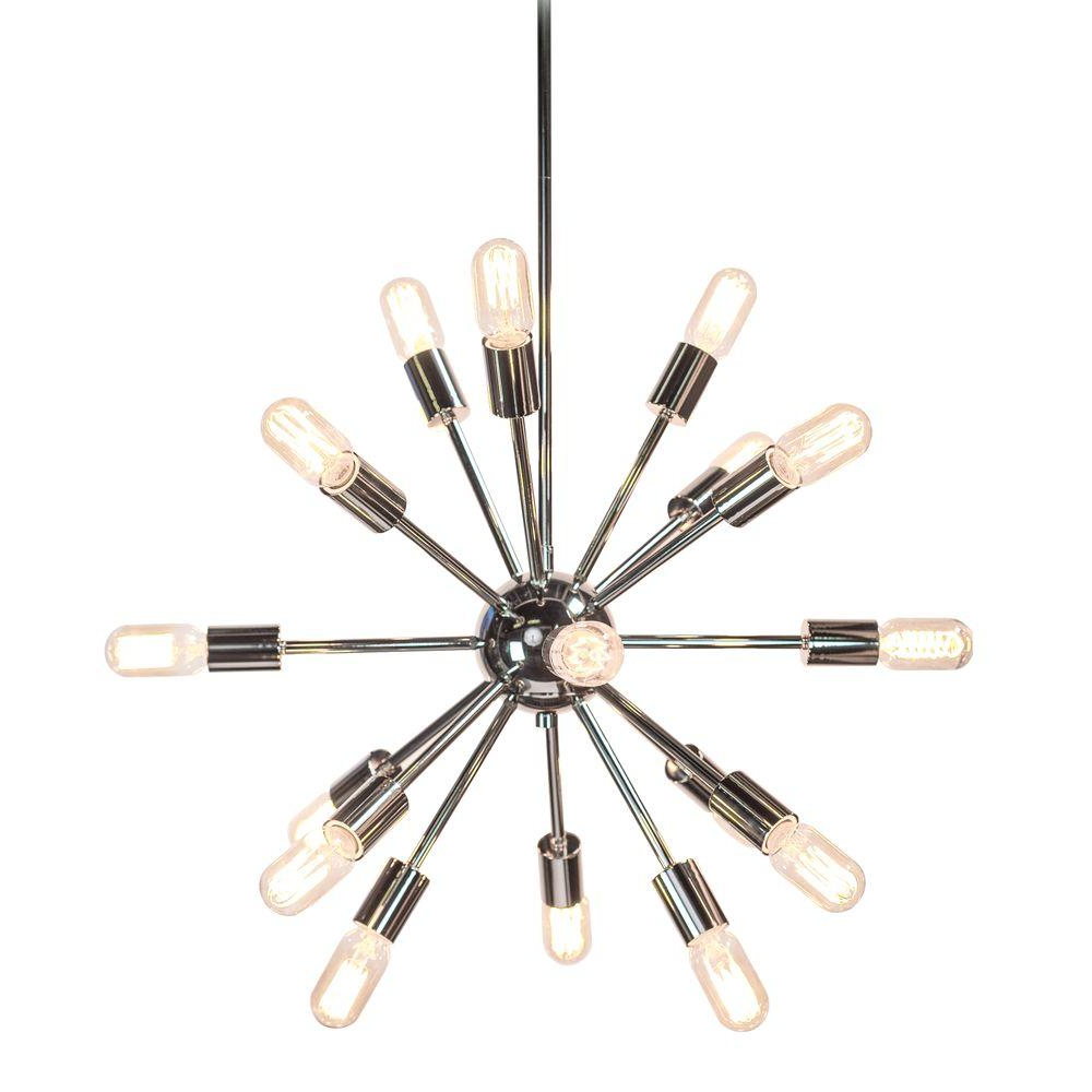 Recent Decor Living Sputnik 18 Light Polished Nickel Chandelier Pertaining To Defreitas 18 Light Sputnik Chandeliers (View 11 of 20)