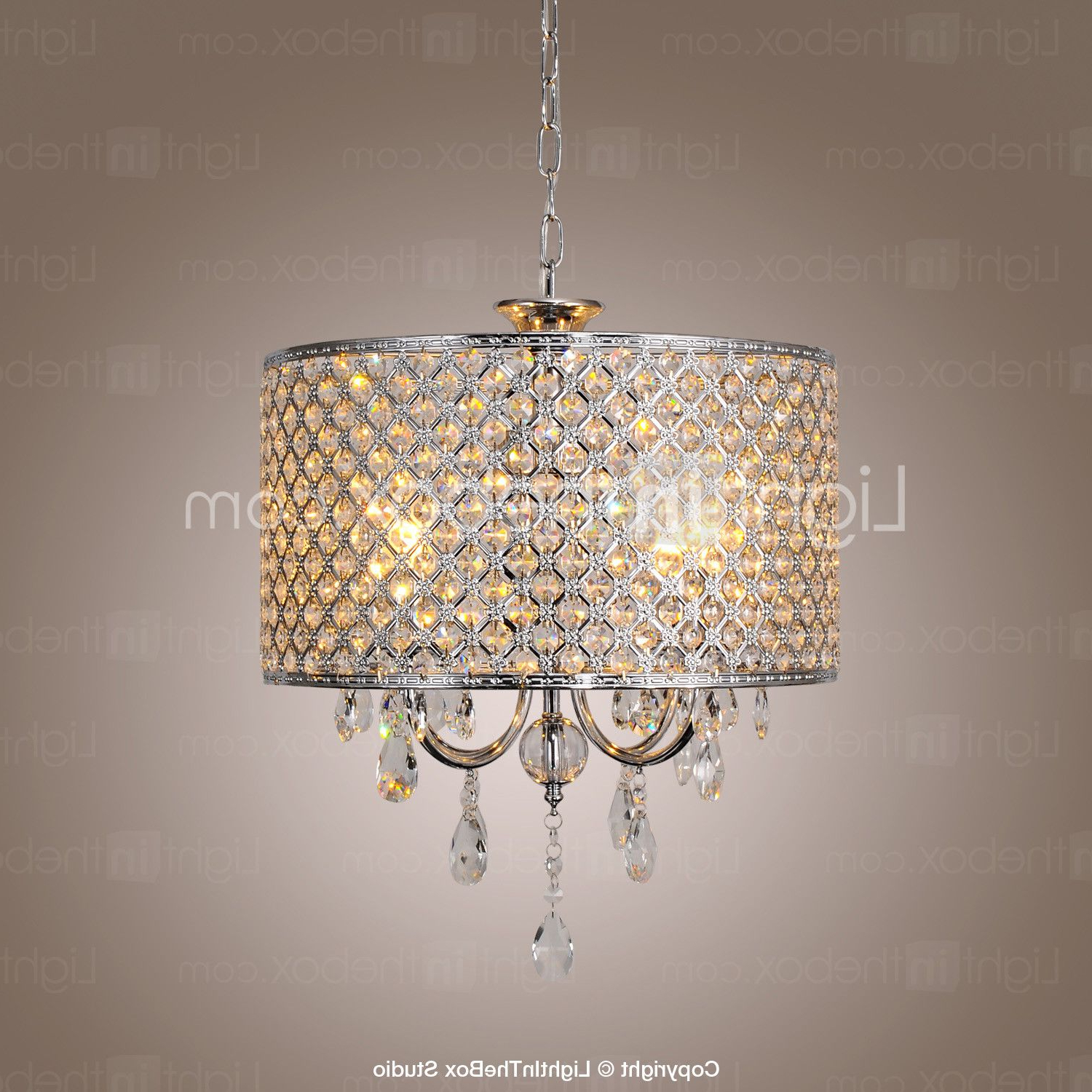 Recent Drum Chandelier Crystal Modern 4 Lights 2015 – $ (View 17 of 20)