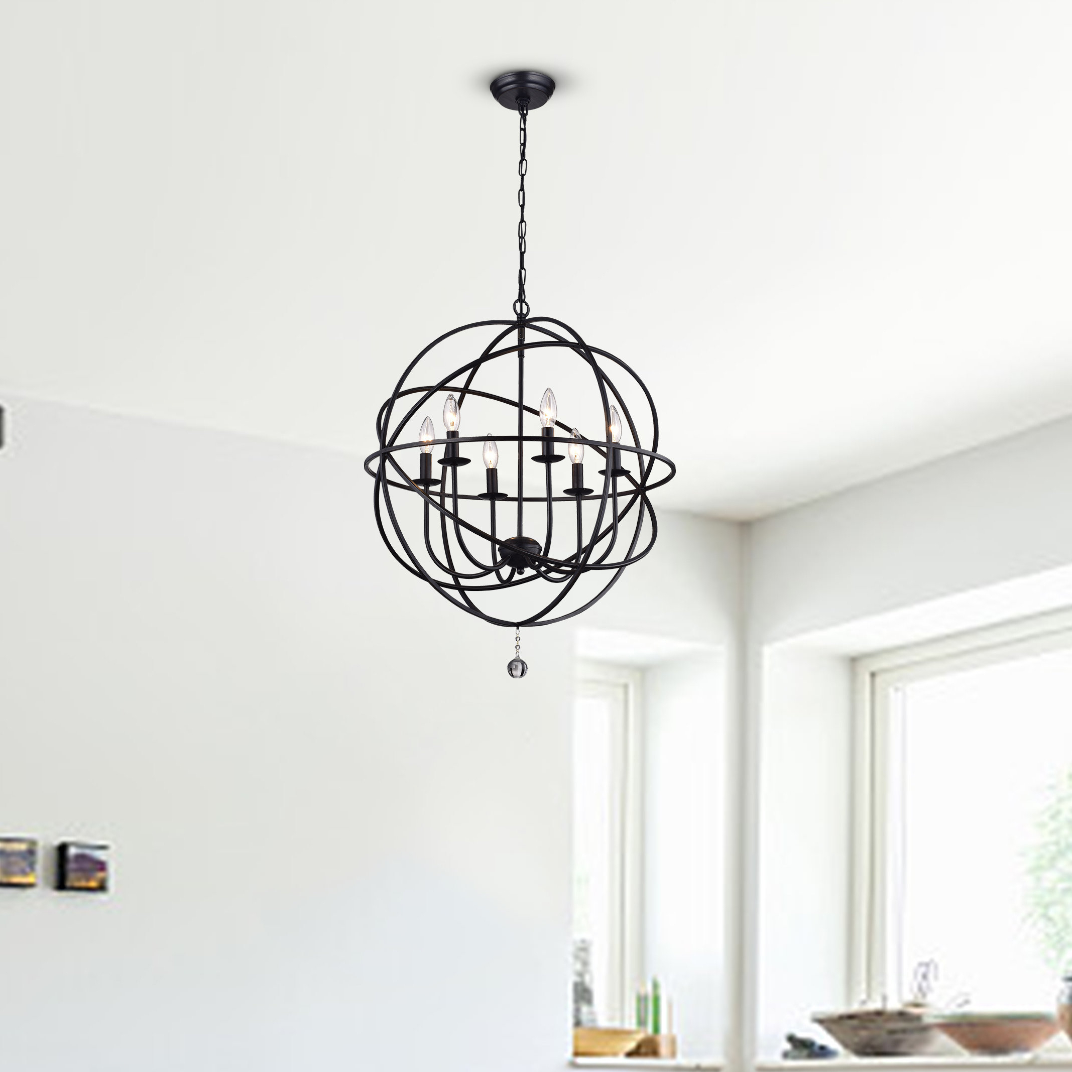 Recent Eastbourne 6 Light Unique / Statement Chandelier Within Waldron 5 Light Globe Chandeliers (View 8 of 20)