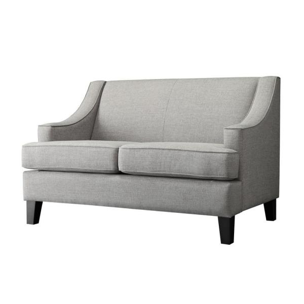 Recent Homesullivan Watson Grey Linen Loveseat 409993Gl 2Ls – The Within Clifford Loveseats With Cushion (View 13 of 20)
