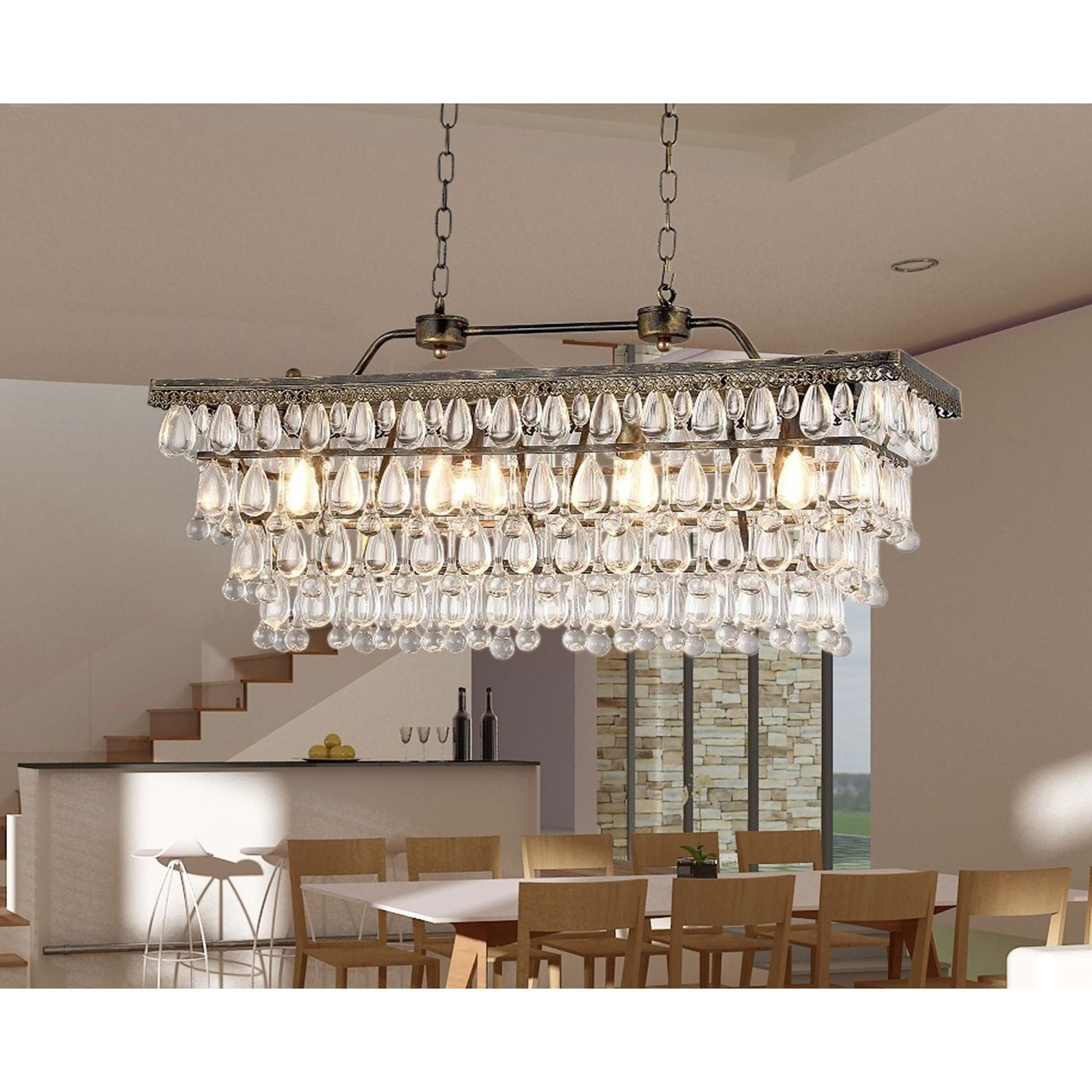 Recent Huskar Bronze 4 Light Pendant With Crystal Shade – Artofit With Verdell 5 Light Crystal Chandeliers (View 13 of 20)