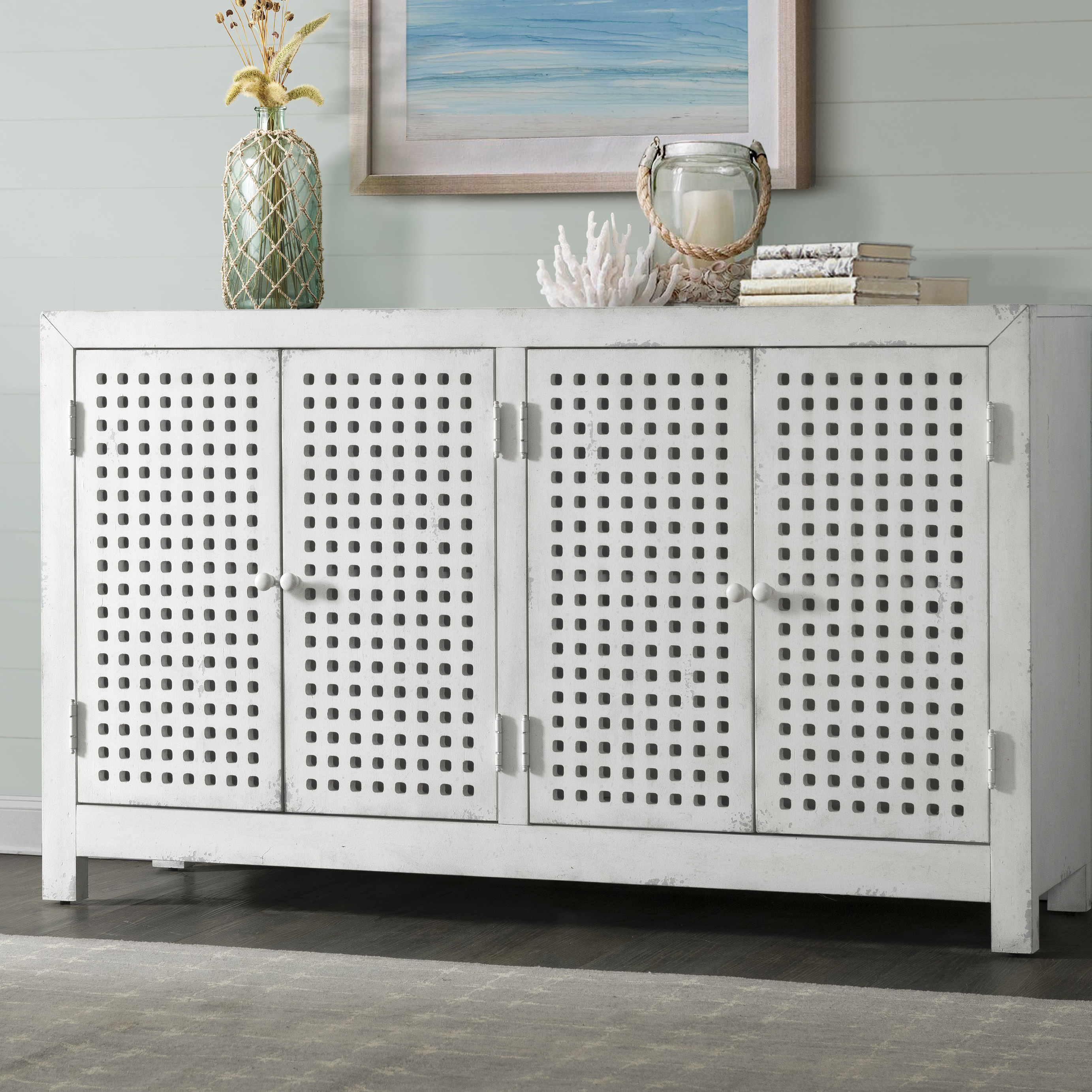 Recent Isherwood Four Door Pierced Grid Sideboard Throughout Mauldin Sideboards (View 16 of 20)